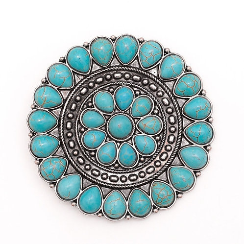 """2.5"""" ROUND SILVER & TURQUOISE FLOWER CONCHO PIN P006"""