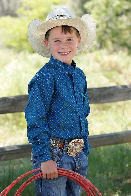 BOY'S BLUE PRINT CINCH L/S BUTTON UP MTW7060230