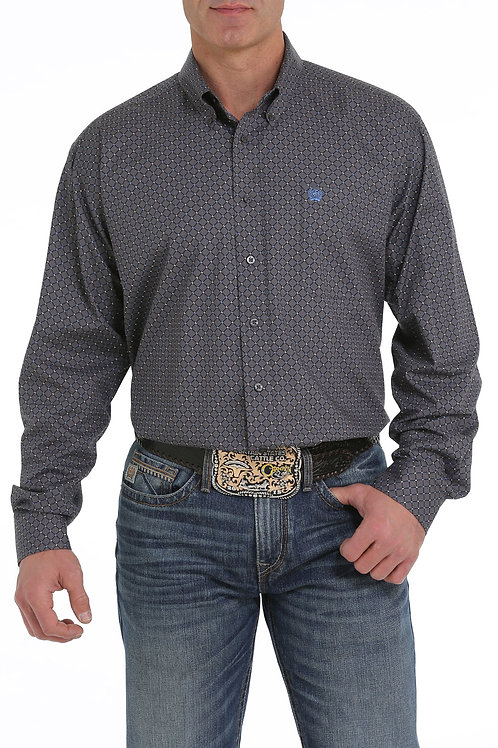 MEN'S CINCH GRAY PRINT BUTTON UP L/S MTW1104938