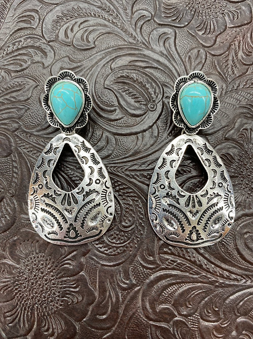 HAMMERED SILVER/TURQUOISE AZTEC EARRINGS E569