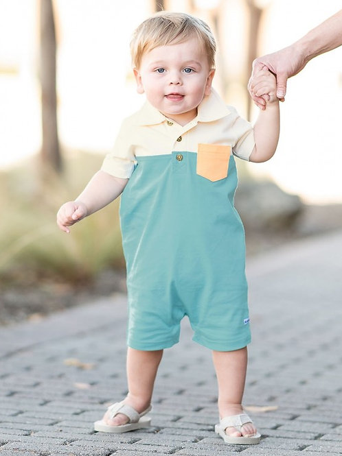 RUGGED BUTTS COLOR BLOCK POLO ROMPER BRKMB