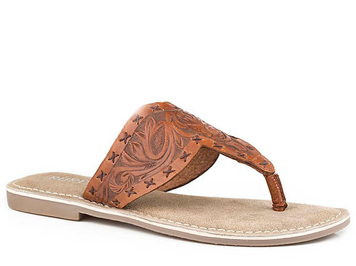 WOMEN'S TOOLED LEATHER SANDALS BY ROPER 2660
