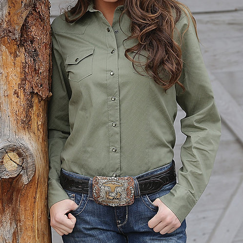 CINCH WOMENS BUTTON UP OLIVE MSW9200022