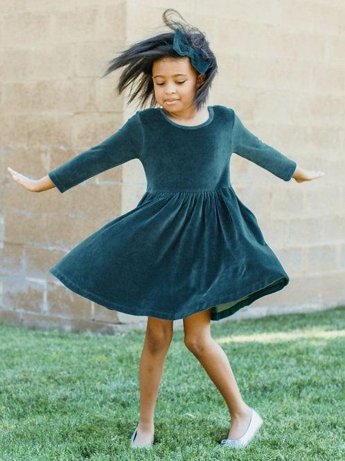 GIRL'S ETHEREAL BLUE VELOUR TWIRL DRESS SDVCN