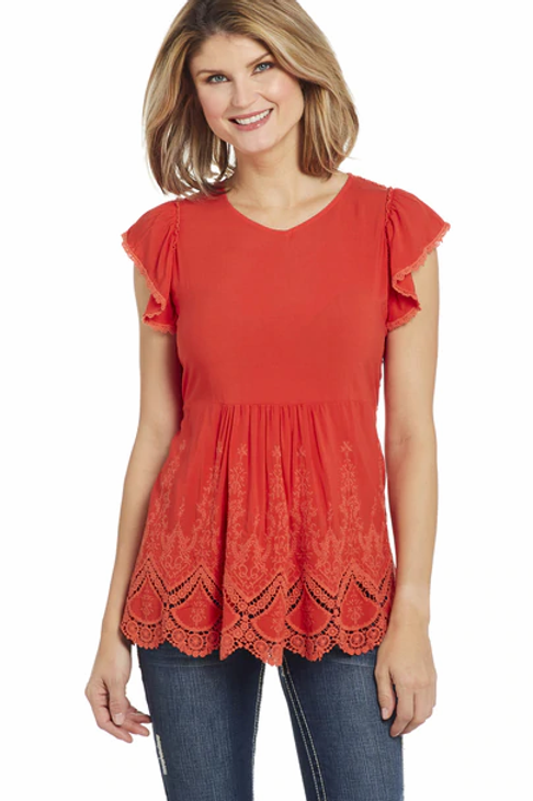 WOMEN'S RED LACE BACKED TOP CG00404