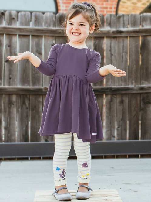 GIRL'S LILAC/IVORY FLORAL RUFFLE TIGHTS RLKML