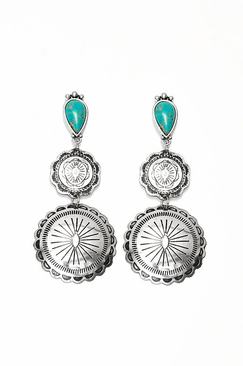 DOUBLE CONCHO EARRING ON TURQUOISE POST E730