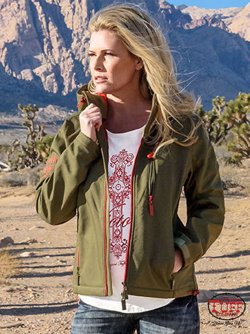 COWGIRL TUFF OLIVE/RED JACKET H00486