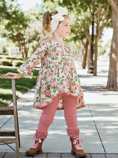GIRL'S MAUVE RUFFLE LEGGINGS SPKMV