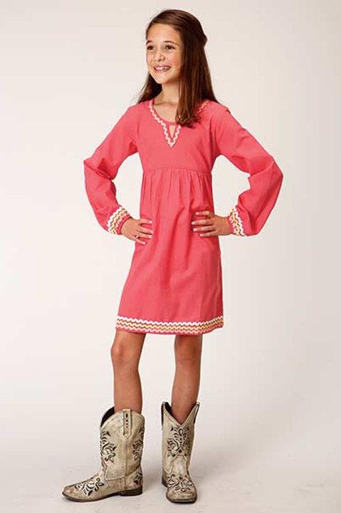 GIRL'S ROPER CORAL CHAMBRAY L/S DRESS 4075