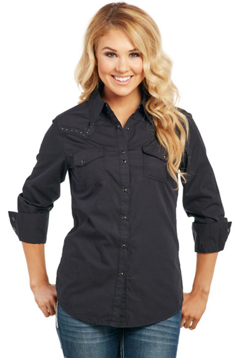 COWGIRL UP LONG SLEEVE LIGHT ENZYME WASH WOVEN SHIRT CG61204