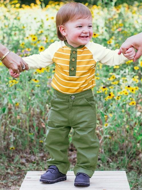BOY'S YELLOW STRIPE HENLEY BODYSUIT B1KGI12