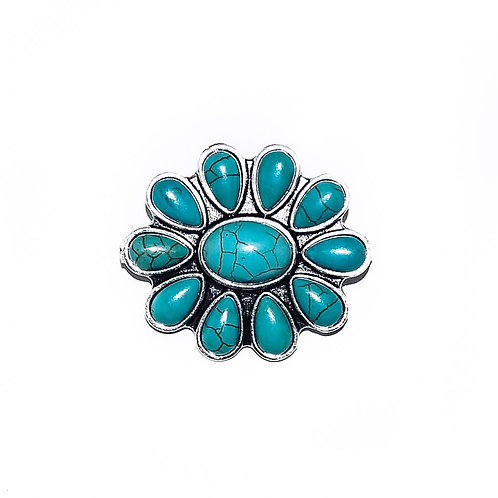 """1.5"""" TURQUOISE FLOWER PIN P003"""