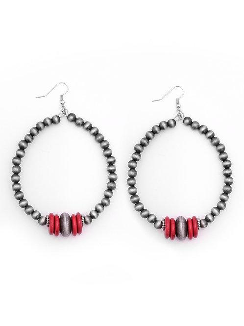 """4"""" NAVAJO PEARL/RED DANGLE HOOP EARRINGS E739RD"""