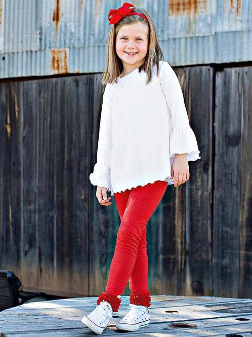 TODDLER/GIRL'S RED RUFFLE LEGGINGS SPKRD