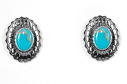 SMALL SILVER/TURQUOISE FLOWER STAMPED CONCHO POST EARRINGS E680