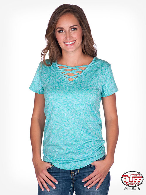 WOMEN'S COWGIRL TUFF TURQUOISE ATHLETIC TEE