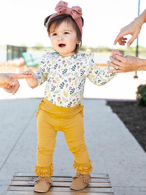 TODDLER/GIRL'S GOLDEN YELLOW RUFFLE LEGGINGS SPKGL