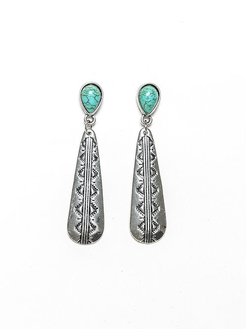 SMALL ELONGATED SILVER STAMP EARRING W/ TURQUOISE TEARDROP POST E678