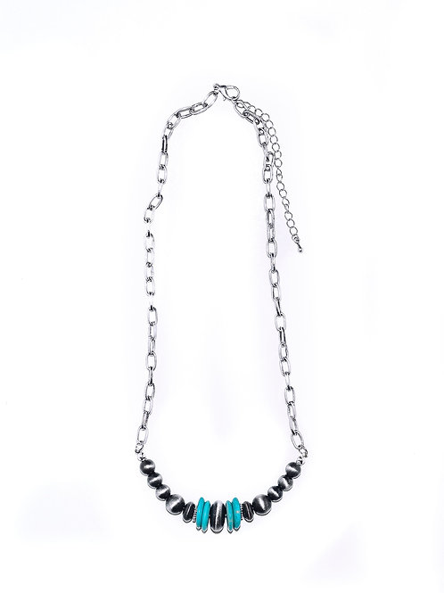 """20"""" NAVAJO PEARL BEADED BAR NECKLACE W/ TURQUOISE ACCENTS N1231TQ"""