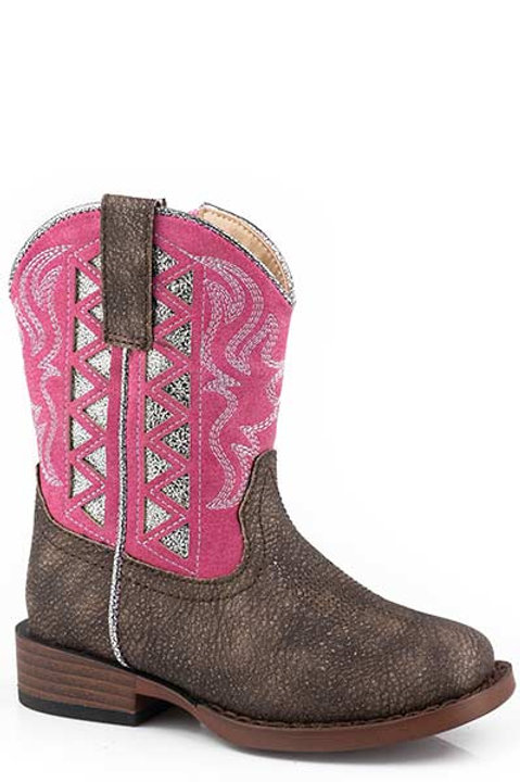 GIRL'S PINK TOPPED ROPER BOOTS 2486