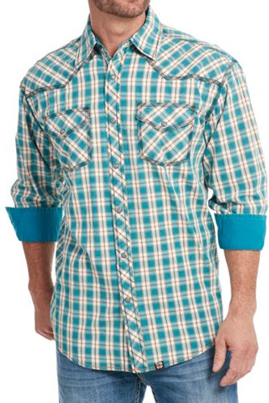 COWBOY UP LONG SLEEVE VINTAGE WASH WOVEN SHIRT CB61002