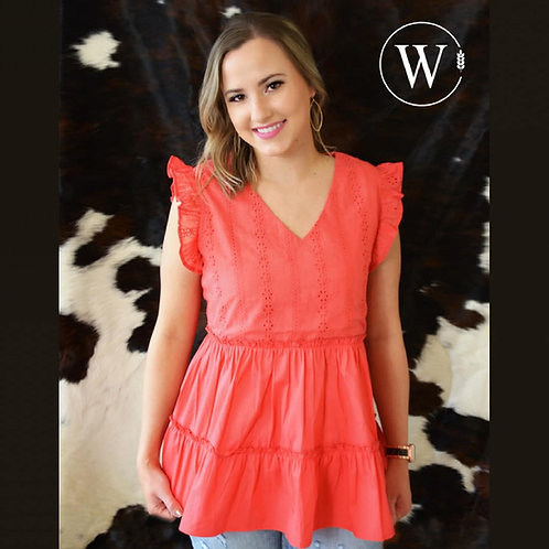 """WOMEN'S """"BECCA"""" A-LINE CORAL BLOUSE"""