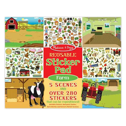MELISSA & DOUG REUSABLE STICKER PAD - FARM 30501
