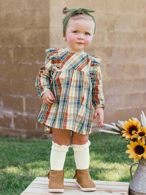 GIRL'S MILLER PLAID FLUTTER BUTTON BACK DRESS BY RUFFLEBUTTS SDWPL