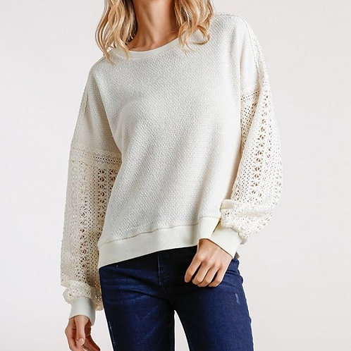 Umgee Crochet Detail on Sleeve Round Neck Knit Top M5078