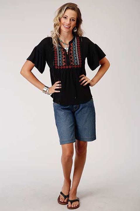 WOMEN'S ROPER BRAND EMBROIDERY TOP 3064