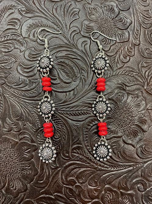 SILVER/RED 3 TIER CONCHO EARRINGS E686RD