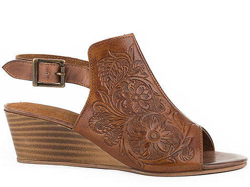 WOMEN'S ROPER TOOLED LEATHER WEDGE HEELS 2447