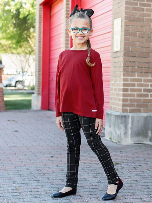 GIRL'S RUFFLEBUTTS WINDOW PANE LEGGING PONTE PANTS GPKBK
