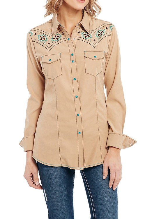 WOMEN'S MICROSUEDE BUTTON UP LONG SLEEVE CG90903