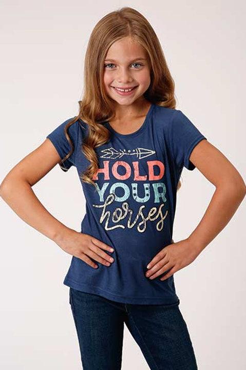 "GIRL'S ROPER ""HOLD YOUR HORSES"" TEE 4053"