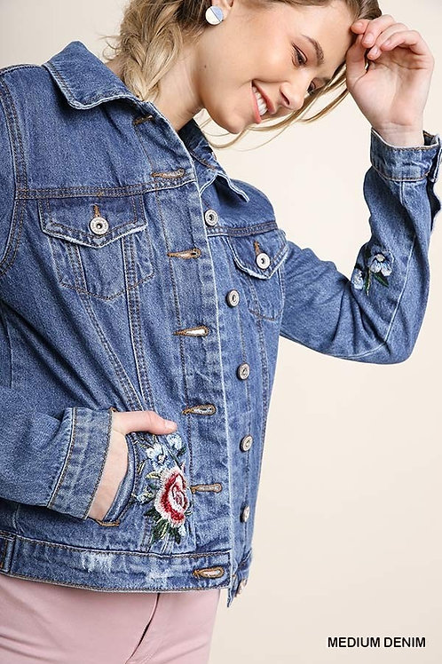 WOMEN'S FLORAL DENIM JACKET BY UMGEE