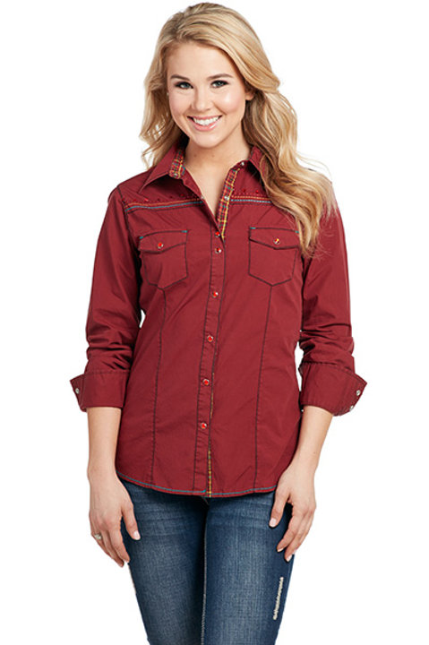 COWGIRL UP CRIMSON RED BUTTON UP CG71102