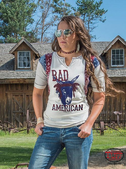 WOMEN'S COWGIRL TUFF BAD A$$ AMERICAN TEE 100246