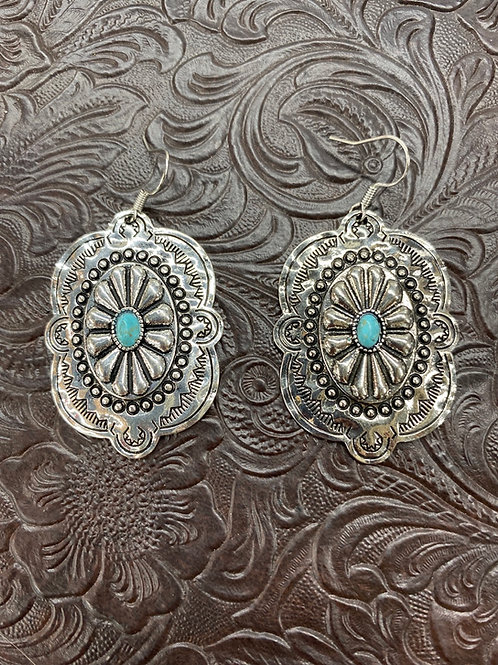 SILVER NAVAJO STYLER CONCHO EARRINGS WITH TURQUOISE E624BS