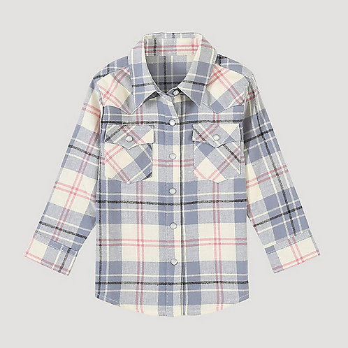 LITTLE GIRL'S WRANGLER PLAID BUTTON UP PQ8034M