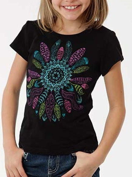 ROPER GIRLS FEATHER TEE BLK 0167
