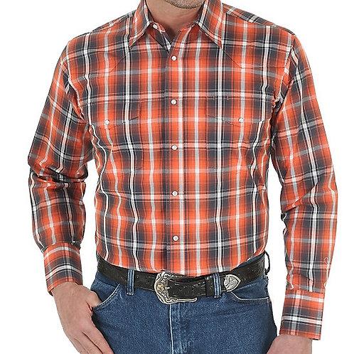 WRANGLER Wrinkle Resist Long Sleeve Western Snap Plaid Shirt MWR208M