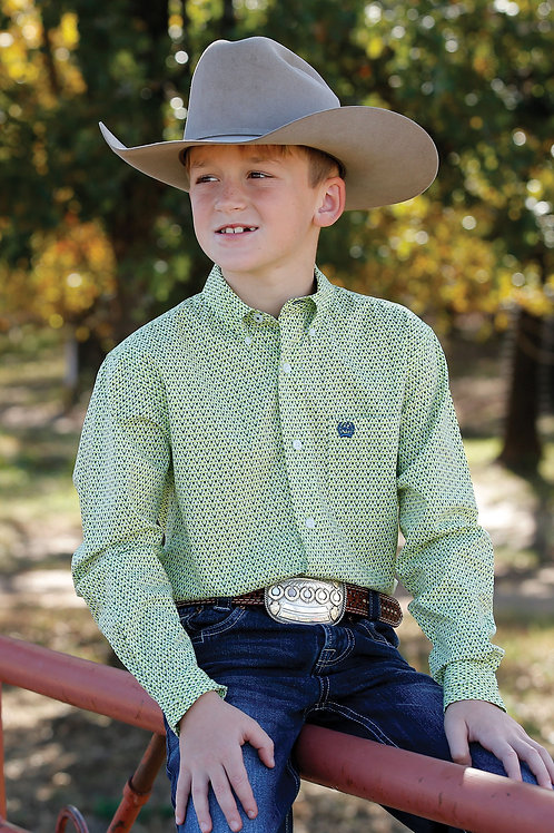 BOY'S CINCH LIME GREEN BUTTON UP SHIRT MTW7060237