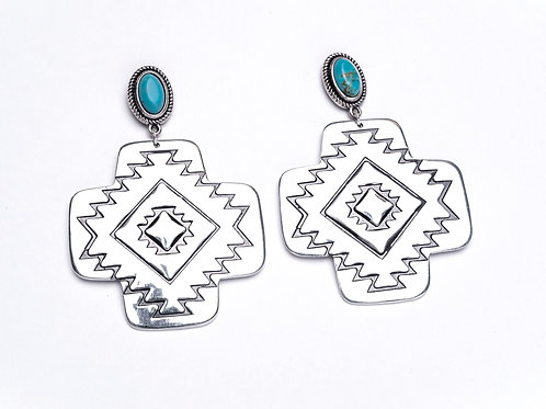 LARGE SILVER AZTEC EARRING W/ TURQUOISE POST E682