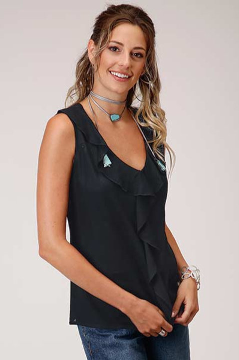 WOMEN'S BLACK SLEEVELESS SHIRT 3001