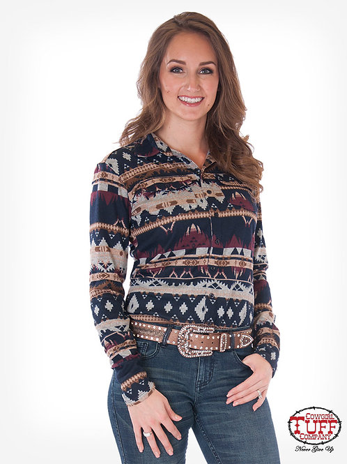 WOMEN'S COWGIRL TUFF NAVY AZTEC PULLOVER H00641