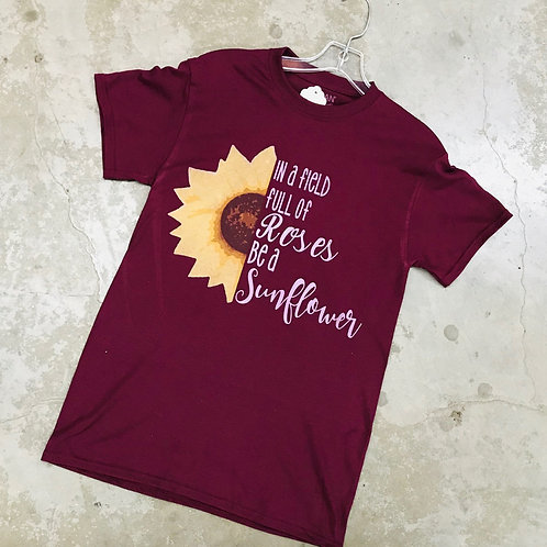 WOMEN'S MAROON SUNFLOWER T-SHIRT