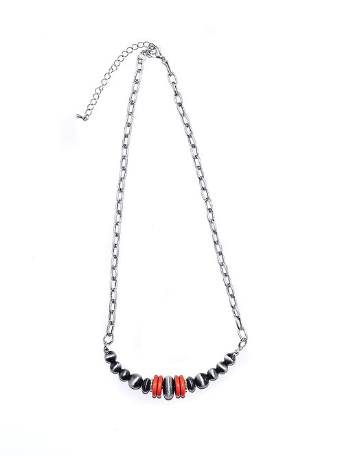 """20"""" NAVAJO PEARL BEADED BAR NECKLACE W/RED ACCENTS N1231RD"""