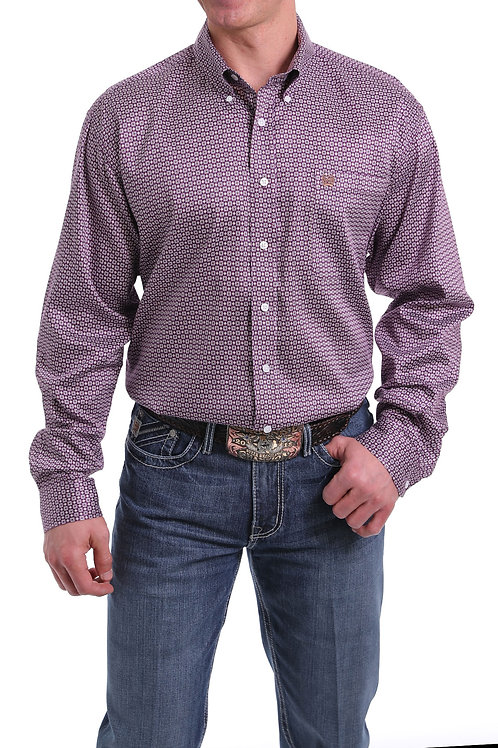 MEN'S CINCH PURPLE PRINT L/S BUTTON UP MTW1104992